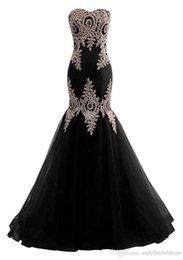 $enCountryForm.capitalKeyWord UK - 2019 Strapless Mermaid Prom Dresses African Golden Lace Appliques Sweetheart Long Evening Dress Formal Party Gowns