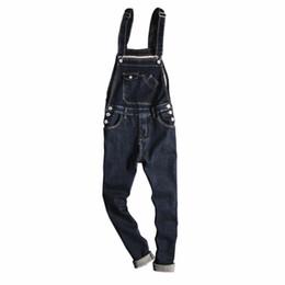 7ce6481de1b8 Fashion men denim jumpsuit Couple denim bib pants Spring autumn mens  One-piece jeans slim overalls British style Pencil pants