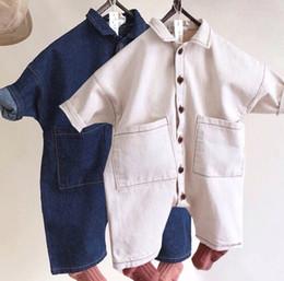 Kids Long Jumpsuit Australia - 2019 Spring new boys denim romper toddler kids lapel long sleeve overalls Romper infant kids double pocket cowboy jumpsuit F3601