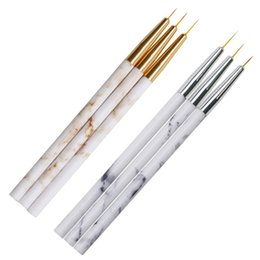 acrylic painting patterns NZ - 3 Pieces set Varnish Liner Drawing Nail Brush Set Acrylic Painting Pen Marble Pattern Handle Manicure Nail Art Tool Accessory