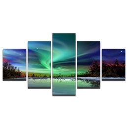 Cartoon Lake Australia - Forest Lake Water Aurora Landscape,5 Pieces Canvas Prints Wall Art Oil Painting Home Decor (Unframed Framed)