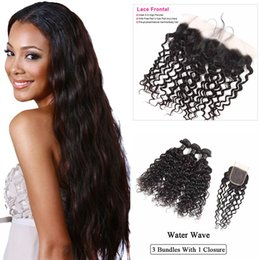 $enCountryForm.capitalKeyWord Australia - 9A Brazilian Water Loose Deep Wave Virgin Human Hair Weaves Extensions 3 Bundles With Lace Closure 3 Bundles With 13X4 Frontal Closure