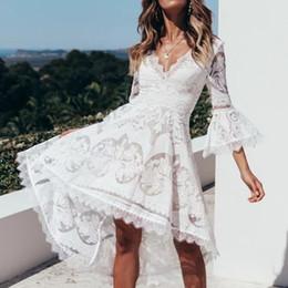 $enCountryForm.capitalKeyWord Australia - New Long Sleeve V Neck 2019 White Sexy Lace Bodycon Women Dresses beach Party Pencil Midi elegant vintage Bandage High Low vestidos de festa