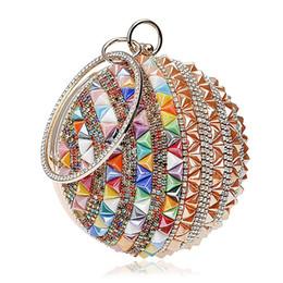 $enCountryForm.capitalKeyWord Australia - Woman Round Ball Clutch Handbag Rhinestone Ring Handle Purse Evening Bag(Gold & color)