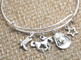 cowgirl charms Australia - Zinc Alloy Ancient Silver Cowgirl Boot Horse Hat Star Charm Bangle Bracelet Steel Ring Adjustable Designer Bracelet Women Men Jewelry Gift