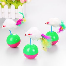 Feather Balls Australia - Mouse Tumbler Cat Toy Feather Ball Funny Kids Cute Pet Cat Kitten Training Play Toy Mice Mouse Tumbler AAA1035 p