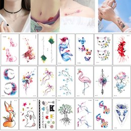 d2c2d8469 10.5*6cm RC Fashion Cute Cartnoon Temporary Body Art Tattoo Small Flower  Cat Butterfly Wolf Decal Watercolored Drawing Tattoo Sticker Design