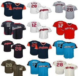 salute service jerseys NZ - Mens Women Youth Indians Jersey 12 Lindor 28 Kluber Jersey White Gray Grey Navy Blue Red Cream Green Salute to Service Players Weekend like