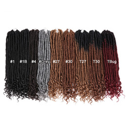 "$enCountryForm.capitalKeyWord NZ - 18"" Faux Locs Crochet Braids Ombre Goddess Crochet Hairs Extension Soft Natural Synthetic Braiding Hair Dreadlocks"