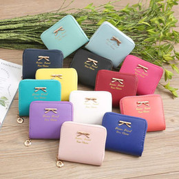 Bow Cards Wholesale Australia - Women's Short Leather Wallets Bow Decoration Credit Card Holder Coin Purse Zipper Elegant Clutch Wallet Fashion Gift Wallet