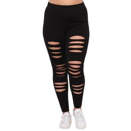 edd70164ff2d6c Sexy Womens Black Leggings UK - Plus Size Womens Sexy Leggings Trousers  Yoga Sport Hole Comfortable