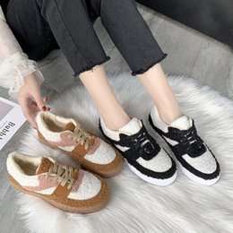 Discount low teddy bears Plush shoes female winter 2019 autumn new net red plus velvet flat casual student wild teddy bear board shoes tide