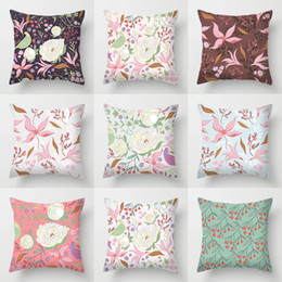$enCountryForm.capitalKeyWord Australia - Double-sided Printing Polyester Cushion Cover Home Decor European Flower Plant Birds Pink Green Decorative Pillows Case for Sofa