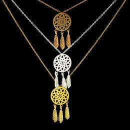 silver dreamcatcher necklace Australia - 10PCS Dream Catcher Feather Gold Silver Necklaces & Pendants Fashion Dreamcatcher Necklace Girl Jewelry Gifts