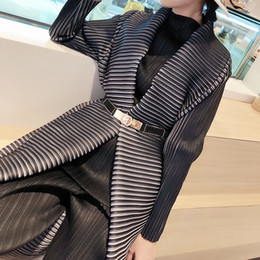 Wholesale pleated trench coats resale online - Japanese MIYAKE pleated windbreaker women s long sleeve shawl celebrity trench women s mid length autumn manteau trench coat