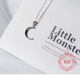 plain silver pendants Australia - Real 925 Sterling Silver Rhodium Plated Plain Crescent Moon Jewelry Women Sterling Silver Jewelry Minimalist Pendant Ladies Accesories