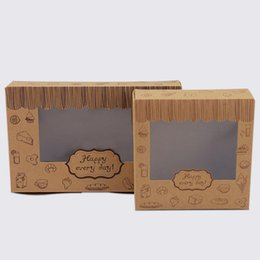 Chinese  Cookies Box Kraft Cake Box Paper Cardboard Packaging with Clear pvc Window Baking Food Carton manufacturers