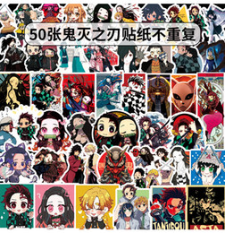 cartoon motorcycle helmets Canada - 50 pcs lot Mixed Car Stickers Anime Blade of Ghost For Laptop Helmet Skateboard Stickers Pad Bicycle Motorcycle PS4 Phone Notebook Decal Pvc