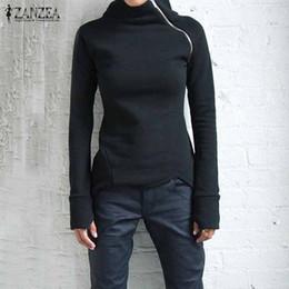 $enCountryForm.capitalKeyWord Australia - ZANZEA Women Hoodies Sweatshirts 2017 Autumn Casual High Neck Long Sleeve Zippers Slim Fitted Blusas Pullovers Plus Size Tops