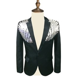 sequin sleeve jacket NZ - Men Sequin Blazer Wing Sequin Blazer Masculino Slim Fit Suit Jacket Men Blazer Sequin Homme Gold Silver Stage DJ StagewearMX190929