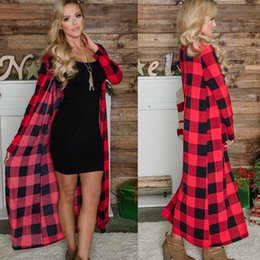 Wholesale red plaid cardigan online – 2019 autumn explosion models ladies casual plaid long cardigan jacket ladies slim plaid printed trench coat