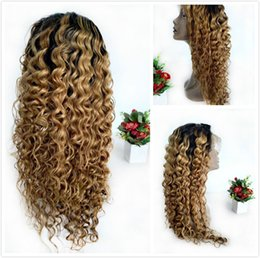 indian deep wave wigs 2019 - Deep Wave Human Colored Hair Lace Front Wigs T1B 27 Brazilian Curly Glueless Wig For Black Women Cheap Honey Blonde Ombr