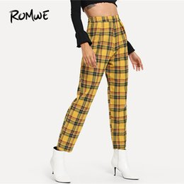 9c7fa711eb5ac4 Romwe Plaid Zip Side Pants Female Casual Spring Autumn Mid Waist Zipper Fly Bottoms  Women Tapered Carrot Multicolor Trousers Y190430