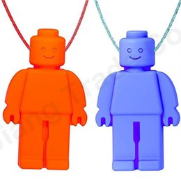 Silicone Toys Australia - Mini Baby Teethers Infant Soothers Teething Robot Shape Training Neck Pendant Chew Toy Kids Food Grade Silicone Dental Care Gifts A61402