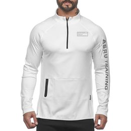 China Men's Letter Casual Jogger Fitness Long Sleeve T-Shirts For Male New Athleisure Sports Workout Tops Tees Shirts XXL cheap white shirts for man stand collared suppliers