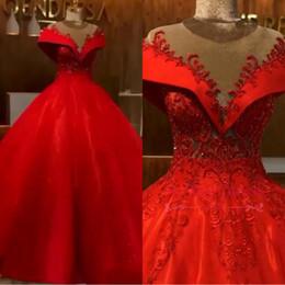 $enCountryForm.capitalKeyWord Australia - Red A Line Sheer Wedding Dresses 2019 New Elegant Off Shoulder Appliques Beads Corset Puffy Long Bridal Gowns Formal Dress BC0680