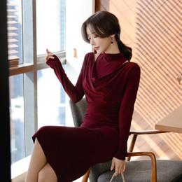 $enCountryForm.capitalKeyWord Australia - Elegant Wine Red Stand Collar Full Sleeve Women Dress 2019 Autumn Winter Ol Style Slim Waist Midi Vestidos Femme