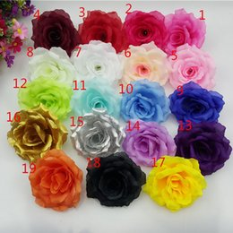 Artificial Red White Rose Head Australia - (100 Pcs lot) 19 Color 10cm Artificial Rose Silk Flower Heads For Wedding Party Decorative Flowers Christmas Home Decoration Y19061103