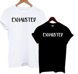 $enCountryForm.capitalKeyWord Australia - Exhausted T Shirt Black White Slogan Tee Mum Dad Funny Joke Baby Tired SleepyFunny free shipping Unisex Casual Tshirt