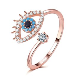 Fashion Finger rings For girls online shopping - Zircon Cubic Filled Evil Eyeball Adjustable Open Rings For Women Bohemian Punk Girl Crush Rose Gold Color Fashion Finger Jewelry