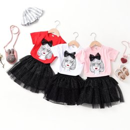 51b3d25ed0987 Children's suit two-piece girl summer dress skirt tutu net red vibrating  ins with the same paragraph tide brand children's wear