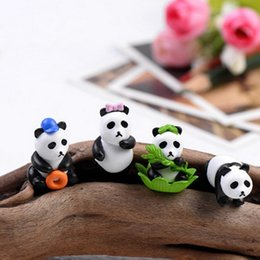 Miniature Figures Australia - 4pcs Mini Panda Figure miniature figurine cartoon character aniaml statue Model Kids gift japanese anime Resin craft ornaments