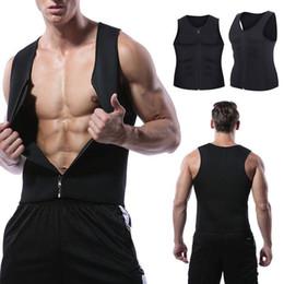 Toptan satış Erkek Shaper Fermuar Vücut Şekillendirici Yelek Sıkıştırma Zayıflama Tankı Bel Trainer Yaz Spor GYM Shapewear Eğitim Sleevess Yelek 3XL Zip