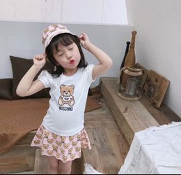 Product Brand Color Australia - Lovely Girls Bear Print T-Shirt Dresses Summer 2019 Kids Boutique Clothing Korean 3-10Y Girls Cotton Shot Sleeves Dresses Special Products