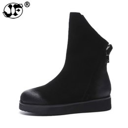 sew flowers UK - 2018 fahsion women boots black zipper cow suede ladies boots flat with round toe leather ankle boots big size 865ji