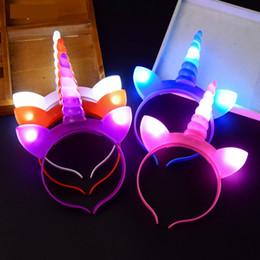 $enCountryForm.capitalKeyWord NZ - LED Unicorn Headband Unicorn Horn Hairband DIY Kids Birthday Party Decorations Baby Girl Headbands Growing Party Supplies 5 pcs