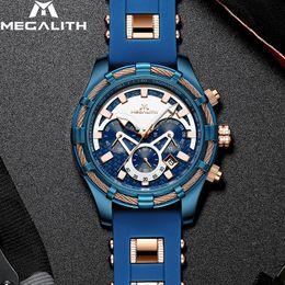 Luxury Quartz Sinobi Wrist Watch Australia - Megalith Mens Watches Top Brand Luxury Blue Silicone Strap Waterproof Sports Chronograph Quartz Wrist Watches Relogio Masculino Y19052103