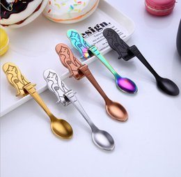$enCountryForm.capitalKeyWord Australia - 304 Stainless Steel Mermaid Spoons 5Colors Coffee Eco Friendly Teaspoon PVD Plated Gold Copper Black Rainbow