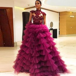 celebrity evening skirts UK - Elegant Celebrity Prom Dresses 2020 Long High Neck Cap Sleeves Tiered Skirts Evening Dress With Sheer Neckline Lace Appliques Cocktail Gowns