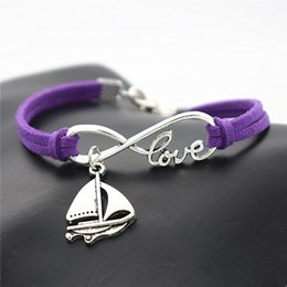 Sailing ropeS online shopping - Purple Leather Rope Bracelet Bangles Antique Silver Alloy Infinity Love Sailing Ship Sail Boat Shaped Amulet Lucky Charm Jewelry