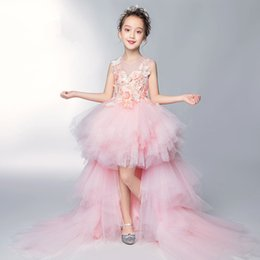 Flower Hi Lo Evening Gowns Australia - Lovely Lace Appliques Flower Girl Dresses High Low Ruffles Tulle Kids Evening Gowns For Wedding First Communion Dresses