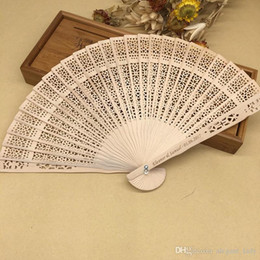 woman fans NZ - Wholesale Ladies Fans Wedding Party Gifts Hollow Personalized Wood Wedding Favors Fan Party Giveaways Sandalwood Folding Hand Fans For Women