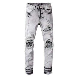 $enCountryForm.capitalKeyWord Australia - Fashion Streetwear Men Robin Jeans Retro Gray Slim Fit Ripped Jeans For Men Destroyed Patchwork Hip Hop Pants Biker Jeans Homme Plus Size