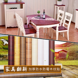 $enCountryForm.capitalKeyWord Australia - DIY Thick PVC waterproof self-adhesive furniture renovation stickers wood grain Boeing film wallpaper wall decor film wardrobe door stickers