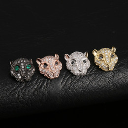 Factory Metals Australia - DIY Handmade Accessories Factory Wholesale Fashion Luxury Zircon Gold Silver Plated Copper Leopard Head Metals Jewelry Findings LP012