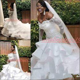 Coral Bride Beads Australia - Luxurious Ruffle Beads Crystal Mermaid Wedding Dresses Long Sleeve Sheer Sexy Custom Arabic Long Sleeve Bride Dress Plus Size Bridal Gown